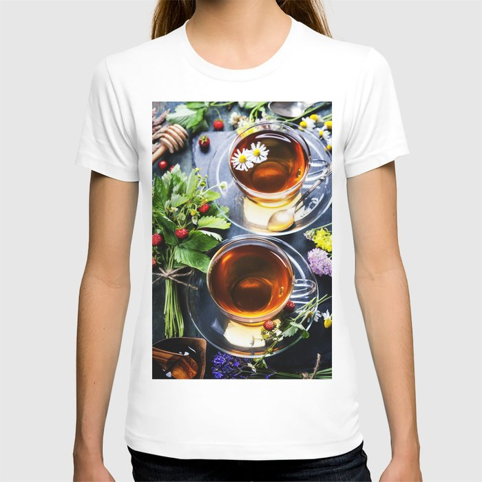 Herbal tea with honey, wild berry and flowers on wooden background T-shirt