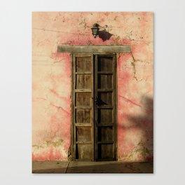 Pink House with Antique Door in Golden Light Canvas Print