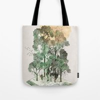 trees Tote Bags featuring Jungle Book by David Fleck