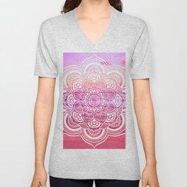 Water Mandala Hot Pink Fuchsia Unisex V-Neck