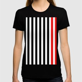 black, white and red stripes T-shirt