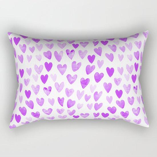 Watercolor Hearts purple pantone love pattern design minimal modern valentines day Rectangular Pillow