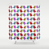 owls Shower Curtains featuring Owls by BlackBlizzard