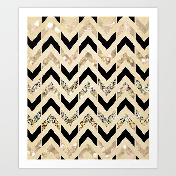 Black & Gold Glitter Herringbone Chevron on Nude Cream Kunstdrucke
