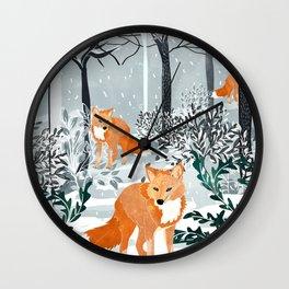 Fox Snow Walk Wall Clock