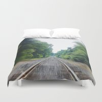 train Duvet Covers featuring TRAIN TRACKS by 2sweet4words Designs