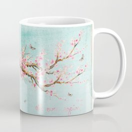 Its All Over Again - Romantic Spring Cherry Blossom Butterfly Illustration on Teal Watercolor Coffee Mug