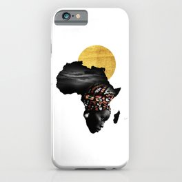 Africa Map Afrocentric Black Woman Portrait iPhone Case
