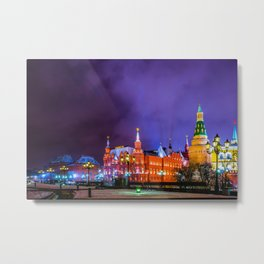 Moscow Manege Square, Museum Of Russian History, The Kremlin At Winter Night Metal Print