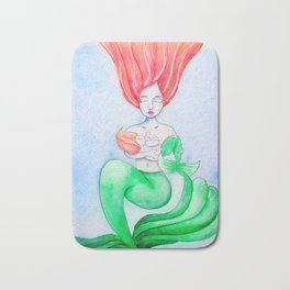 Breastfeeding Mermom - Mermaid Mom and Baby Nursing Watercolor Bath Mat