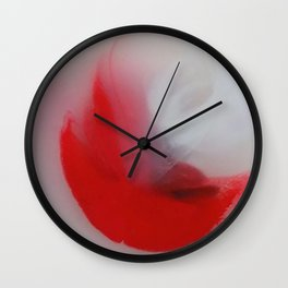 Fluffy Cardinal Red Moon Floats Cheerfully Into View Wall Clock