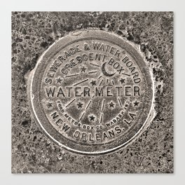 Sepia New Orleans Water Meter Louisiana Crescent City NOLA Water Board Metalwork Canvas Print