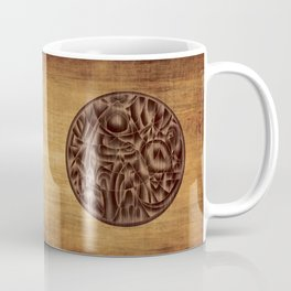 Abstract Wood Carving Pattern Coffee Mug