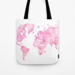 Pink watercolor world map Tote Bag