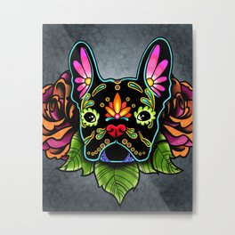 French Bulldog in Black - Day of the Dead Bulldog Sugar Skull Dog Metal Print