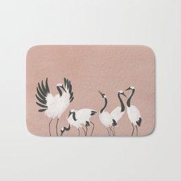Crane Dance - Mauve Pink Bath Mat