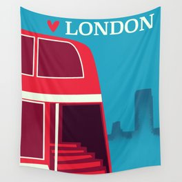Love London vintage bus travel poster Wall Tapestry