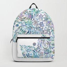 Mermaid Dreams Mandala on White Backpack