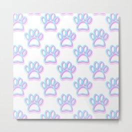 Pink And Blue Neon Dog Paw Prints Metal Print