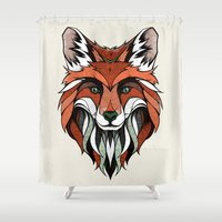 andreas preis Shower Curtains featuring Fox // Colored by Andreas Preis