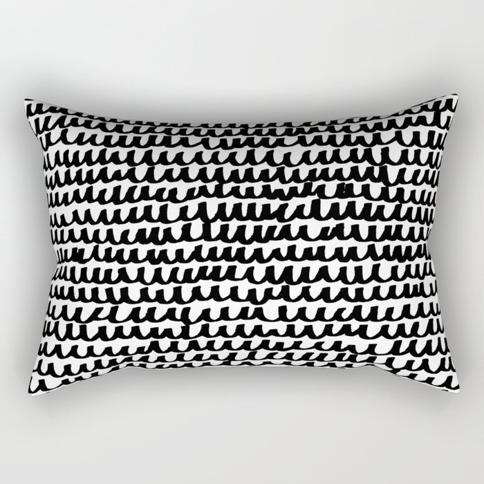 Black Wave Lines on White Rectangular Pillow