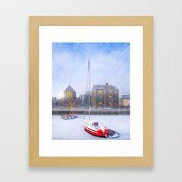 Snow Falling On Claddagh Quay in Historic Galway Ireland Framed Art Print