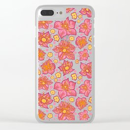 Pretty Pink And Yellow Floral Pattern Clear iPhone Case