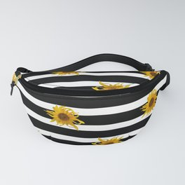 Sunflowers and Black and White Stripes Fanny Pack