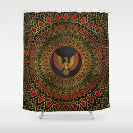 Gold and red Decorated Phoenix bird symbol Shower Curtain