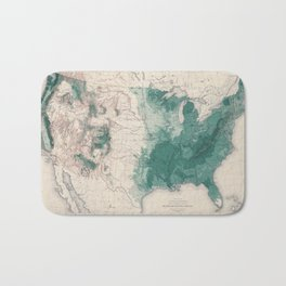 1883 USA Map of Density of Forests Bath Mat