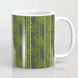 Lime Green Bamboo Leaves Pattern on Grey Coffee Mug