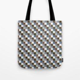 Rustic Brown Gray Blue Patchwork Tote Bag