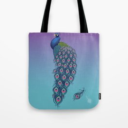 Colorful Peacock with Feathers Tote Bag