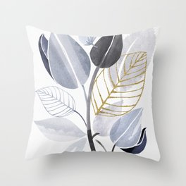 Leaf Party - Watercolor Nature Collage Throw Pillow