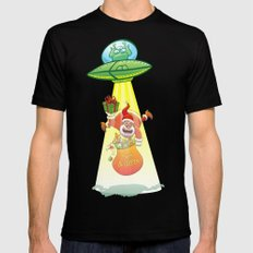Santa Claus Abducted by a UFO just before Christmas Black MEDIUM Mens Fitted Tee