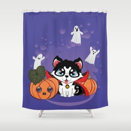 Kawaii count Huskula with pumpkins and ghosts Shower Curtain