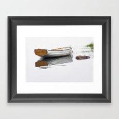 White Boat on a Misty Morning Framed Art Print