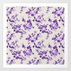 Vintage ivory lavender purple elegant roses floral Art Print