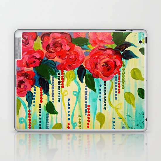 ROSE RAGE Stunning Summer Floral Abstract Flower Bouquet Feminine Pink Turquoise Lime Nature Art Laptop & iPad Skin