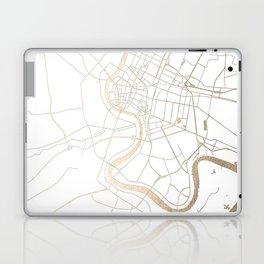 Bangkok Thailand Minimal Street Map - Gold Metallic and White IV Laptop & iPad Skin