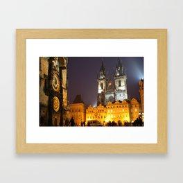 Prague at Night Framed Art Print