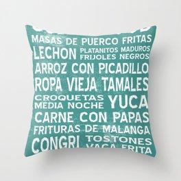 Cuban Food Word Art Poster (Teal) Throw Pillow