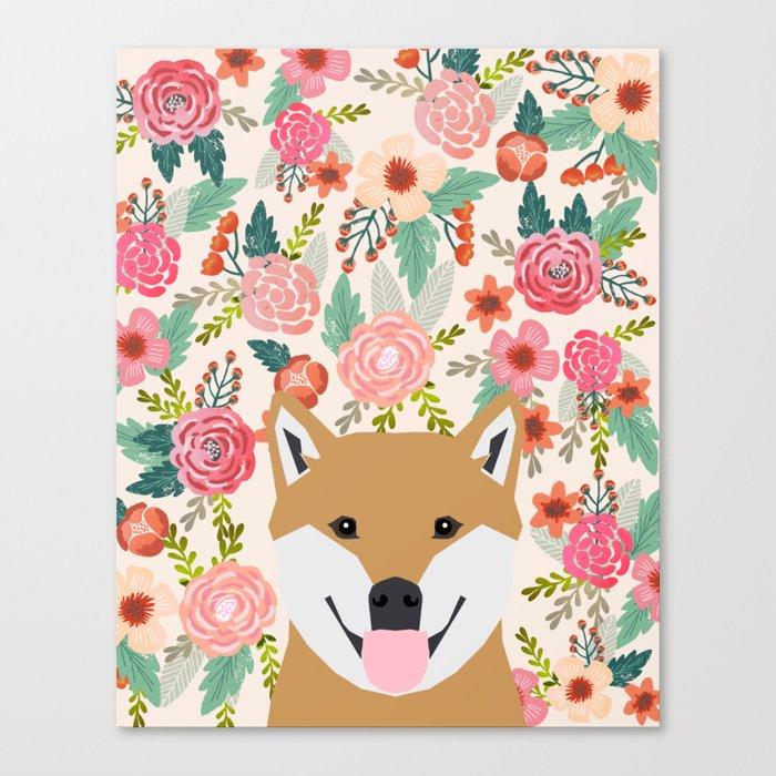 Shiba Inu florals spring summer bright girly hipster dog meme shiba ink puppy pet portraits Canvas Print