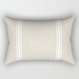 White Stripes on bone color background French Grainsack Distressed Country Farmhouse Rectangular Pillow