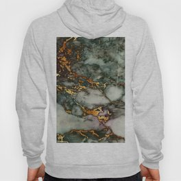 Gray Green Marble Glitter Gold Metallic Foil Style Hoody