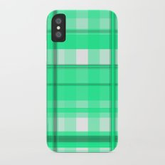 Shades of Light Green and Gray Plaid iPhone X Slim Case