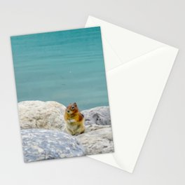 Digital Painting of a Cute Chipmunk sitting on a Rock in front of Lake Louise, Alberta Stationery Cards