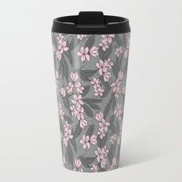 Sakura Branch Pattern - Ballet Slipper + Neutral Grey Travel Mug