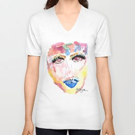 Watercolor Girl Unisex V-Neck