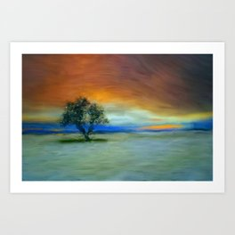 Tree in sunset, painting Art Print